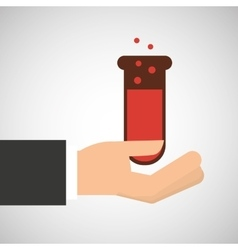 Hand holding chemical test tube filled graphic vector