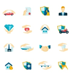 Insurance icons flat vector image