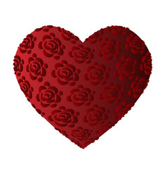 large volume red heart with roses vector image vector image