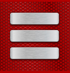 Metal rectangular brushed plates on red perforated vector