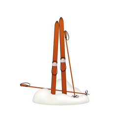 Old wooden alpine skis and old ski poles in snow vector