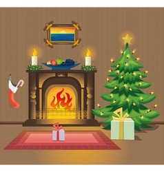 Room with fireplace on christmas vector