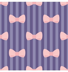 Seamless pastel pink bows stripes blue background vector image vector image