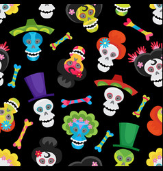 seamless pattern with colorful skulls and bones vector image vector image