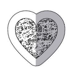 Sticker monochrome of icon heart hand drawn vector
