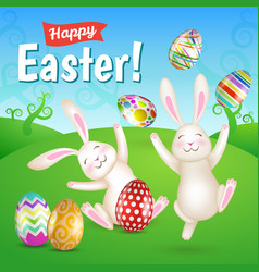 two white cheerful easter bunnies in the meado vector image