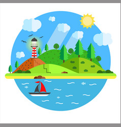 Vacation in the sea with lighthouse hill tree vector