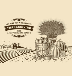 vintage thanksgiving landscape brown vector image vector image