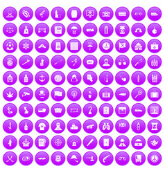 100 offence icons set purple vector