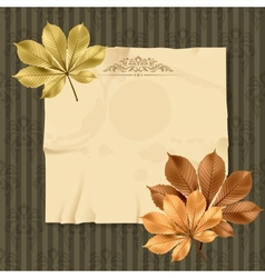 Vintage and retro old paper card with leaves vector image