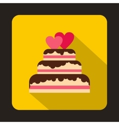 Wedding cake with two hearts icon flat style vector