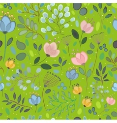 Spring watercolor flowers green seamless pattern vector