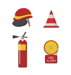 Set firefighter fire safety icons vector