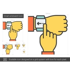 Smart wristwatch line icon vector