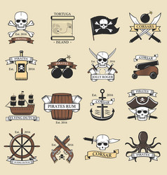 modern professional pirate logo marine badges vector image