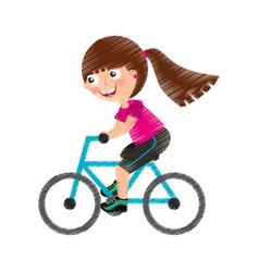 little girl riding bicycle vector image