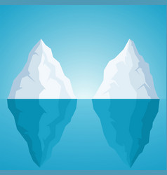 Iceberg on blue background with sunlight vector