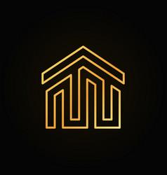 Golden house building icon or logo vector