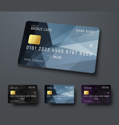 Templates of credit debit bank cards with black vector