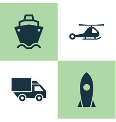 Transport icons set collection of spaceship vector