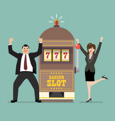 Slot machine jackpot with celebrate businessman vector