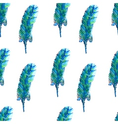 Watercolor seamless pattern with feather vector