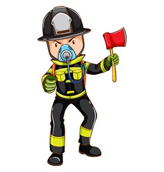 A simple sketch of a fireman holding an axe vector