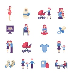 Motherhood flat icons set vector