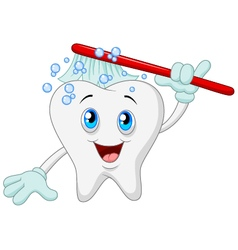 Happy tooth brushing vector