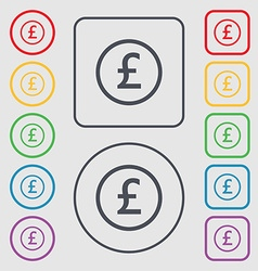 Pound sterling icon sign symbols on the round and vector