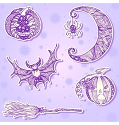 Decorative drawing stickers for halloween part 1 vector