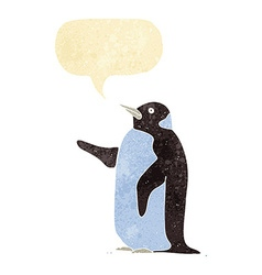 Cartoon penguin with speech bubble vector