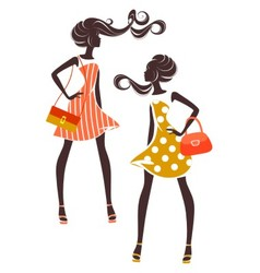 Two girls in elegant dresses vector