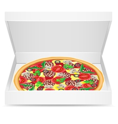 Pizza is in a cardboard box vector