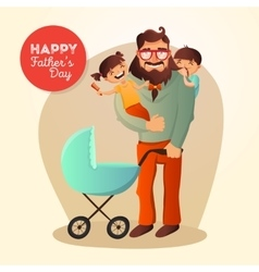 Father day concept with happy vector