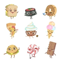 Different food childish characters emotion vector
