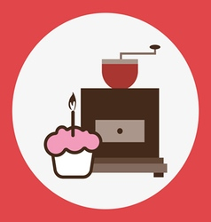 A brown coffee mill with a pink cake vector
