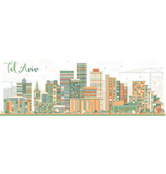 abstract tel aviv skyline with color buildings vector image vector image