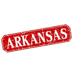 Arkansas red square grunge retro style sign vector