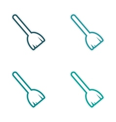 Assembly sticker colored brooms on a white vector