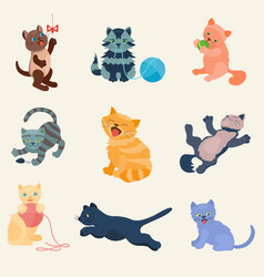 Cats set collection different cats kitty vector