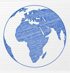 Drawing world globe vector