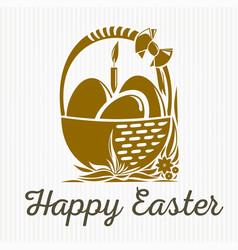 Easter banner design basket with easter eggs vector