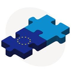 European union and saint pierre and miquelon flags vector