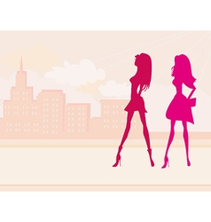 Fashion girls shopping silhouettes vector