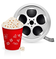 film reel and popcorn vector image vector image