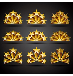 Five stars classic style icons set vector image
