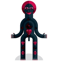 Flat design drawing of odd character art picture vector