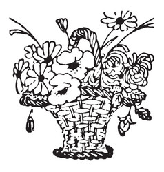 Flowers in the basket in this picture vintage vector