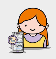 Girl with smartphone whatsapp app to call and chat vector